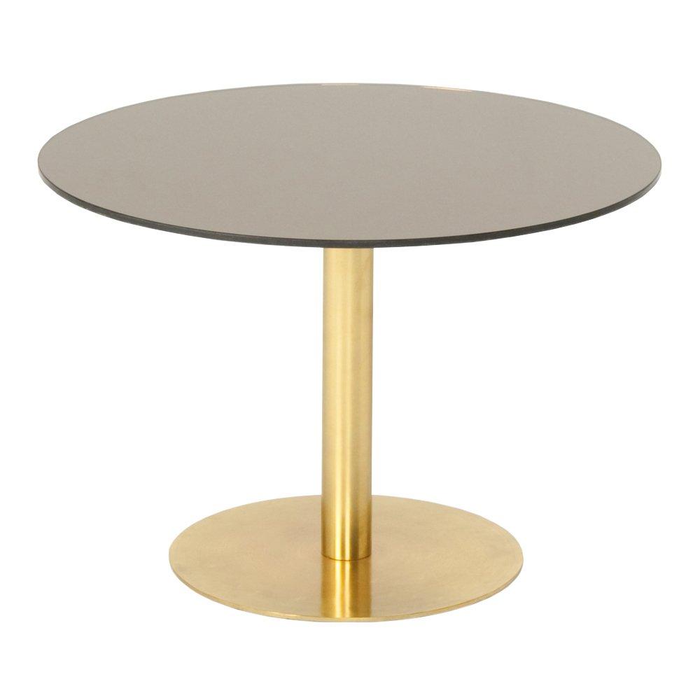 Flash Table   Tom Dixon  Soffbord.  Top i Bronzefärgad spegel, ben i mässing.   H 40 cm   Ø   60 cm.     Lagerstatus: I lager.