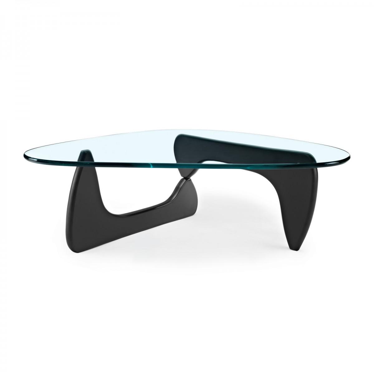 Isamu Noguchi   Designad år 1939   Soffbord. Bordsunderrende i svartlaserad ask. Bordsskiva av 19 mm härdat glas.   B: 120 cm, D 93 cm, H 40 cm.     Lagerstatus: I lager.