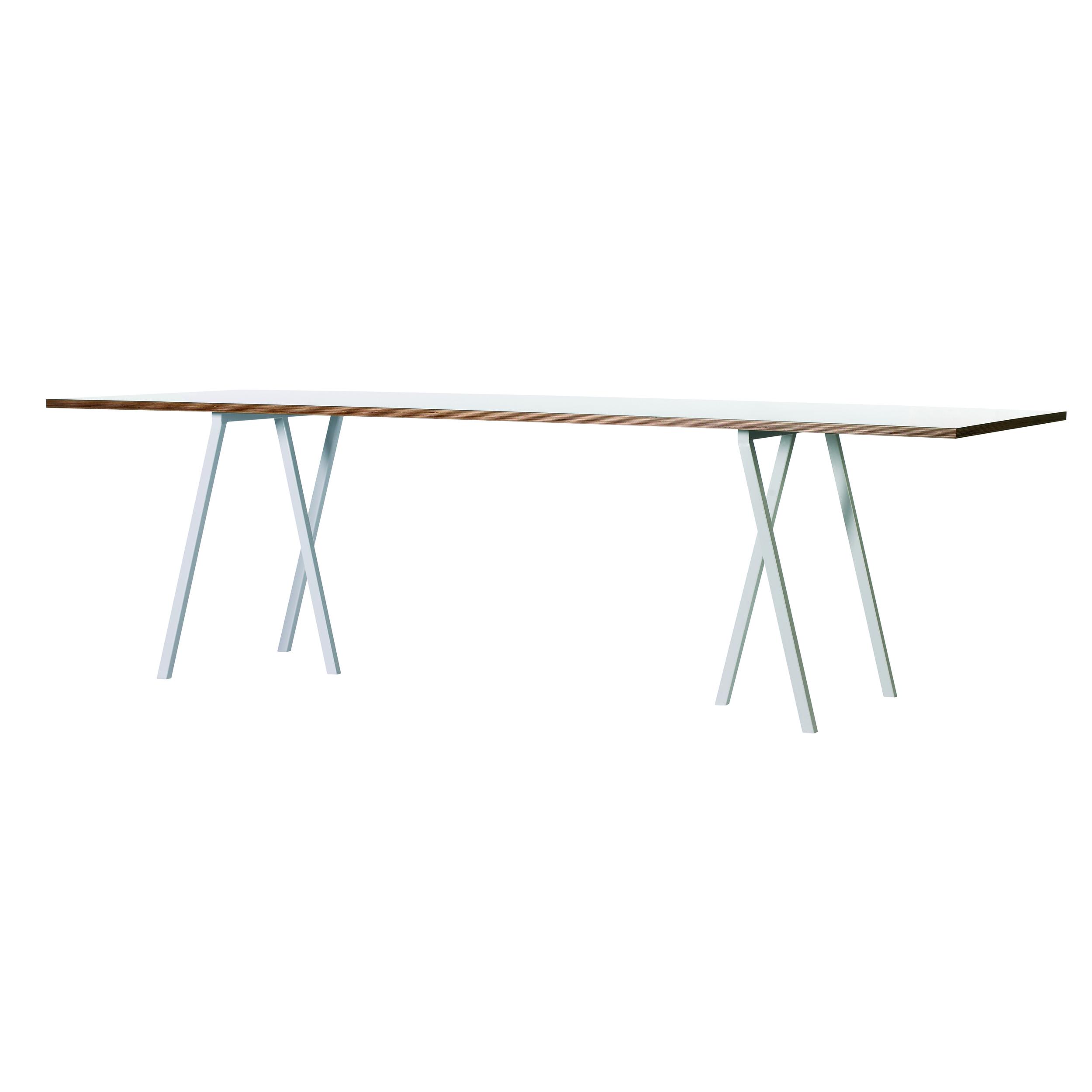 Loop Stand table   HAY/Leif Joergensen   Bordsskiva i vit eller svart laminat, stativ i pulverlackad aluminium.   L: 160, D: 77,5, H 74 cm.     Lagerstatus: I lager.