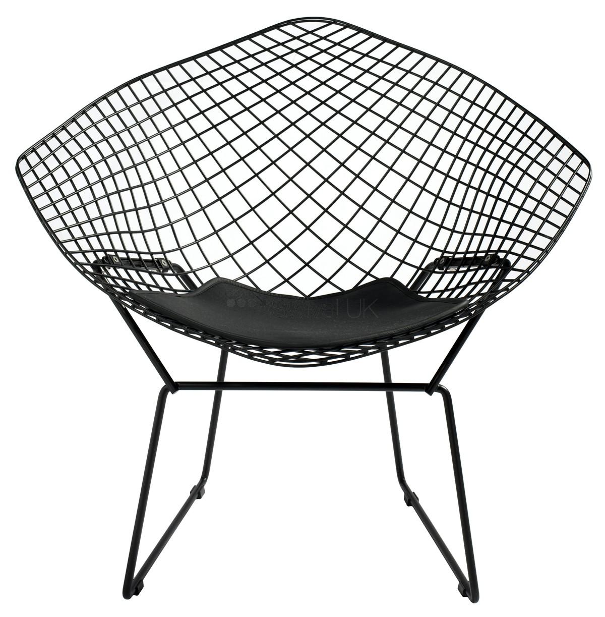 Bertoia Lounge   Harry Bertoia   Metallstomme med stoppad kudde i anilina läder finns i svart. B85, D73, H75.     Lagerstatus: I lager.