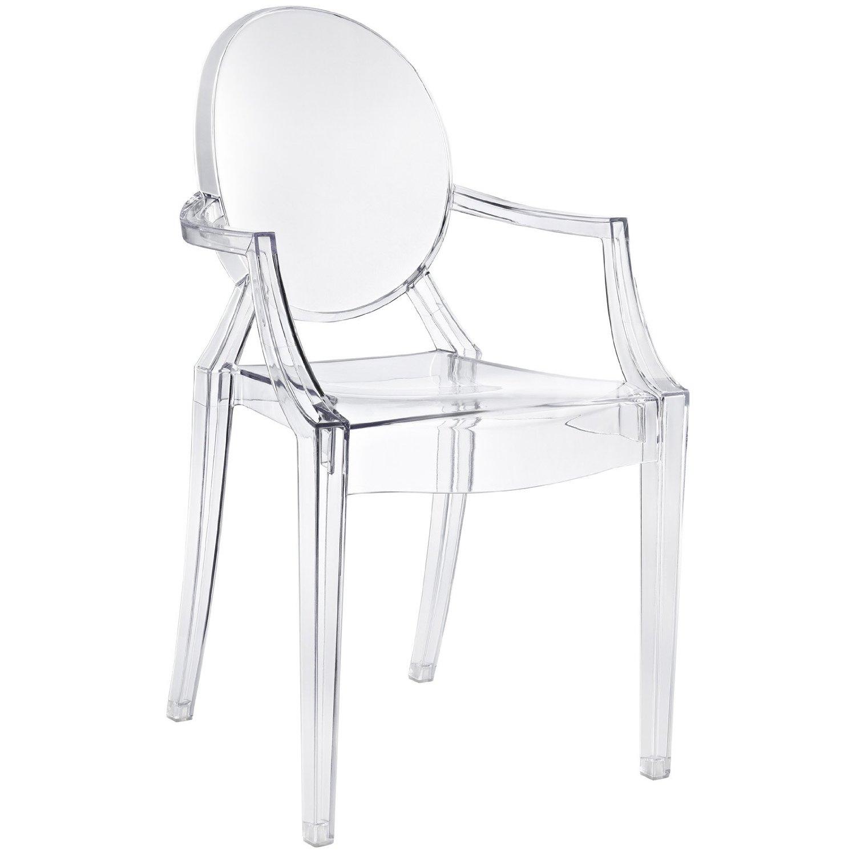 Louis Ghost   Philippe Starck   Kartell  En bekväm stol med arnstöd i transparent och färgad polycarbonat i Louis XV stil. Den är stadig och hållbar, rep- och vädertålig. Stapelbar med 6 stolar. H: 94cm, SH: 47cm, B: 54cm, D: 55cm   Lagerstatus: I lager.