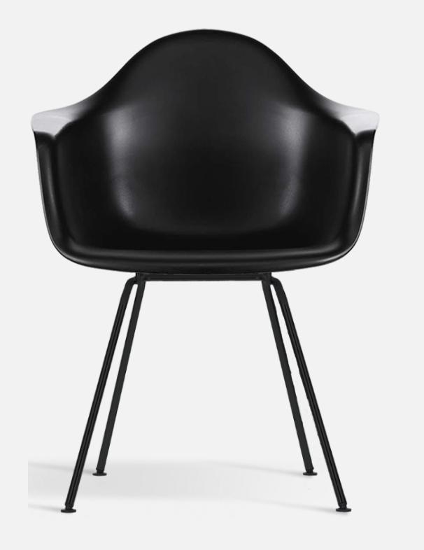 Eames Plastic armchair DAX VITRA   Med klädd svart dyna,svart skal, pulverlackade ben svart.  B: 63cm, D: 59 cm , H: 83 cm   Lagerstatus: I lager