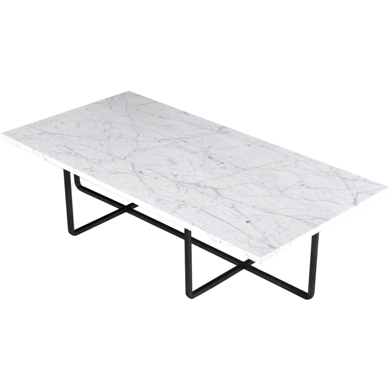 OX Denmarq marmor bord   Vit marmor, pulverlackad underrede, svart  H:40 cm B: 60 cm , L. 120 cm   Lagerstatus; I lager