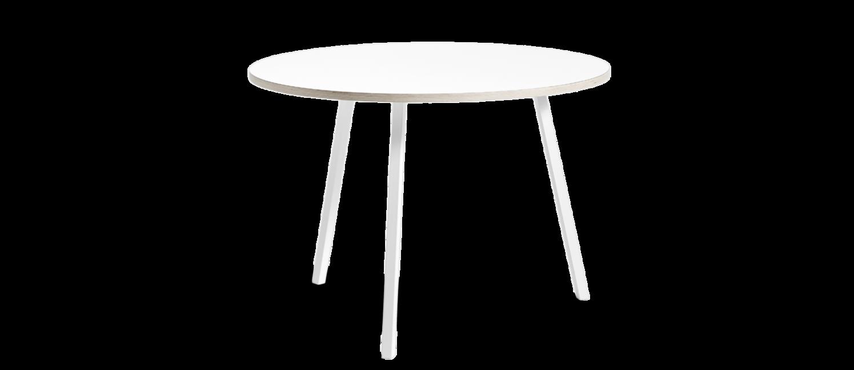 HAY Loop stand round table   Vit laminat topp med träkant, pulverlackade vita ben.  H: 74 cm D: 105 cm   Lagerstatus; I lager