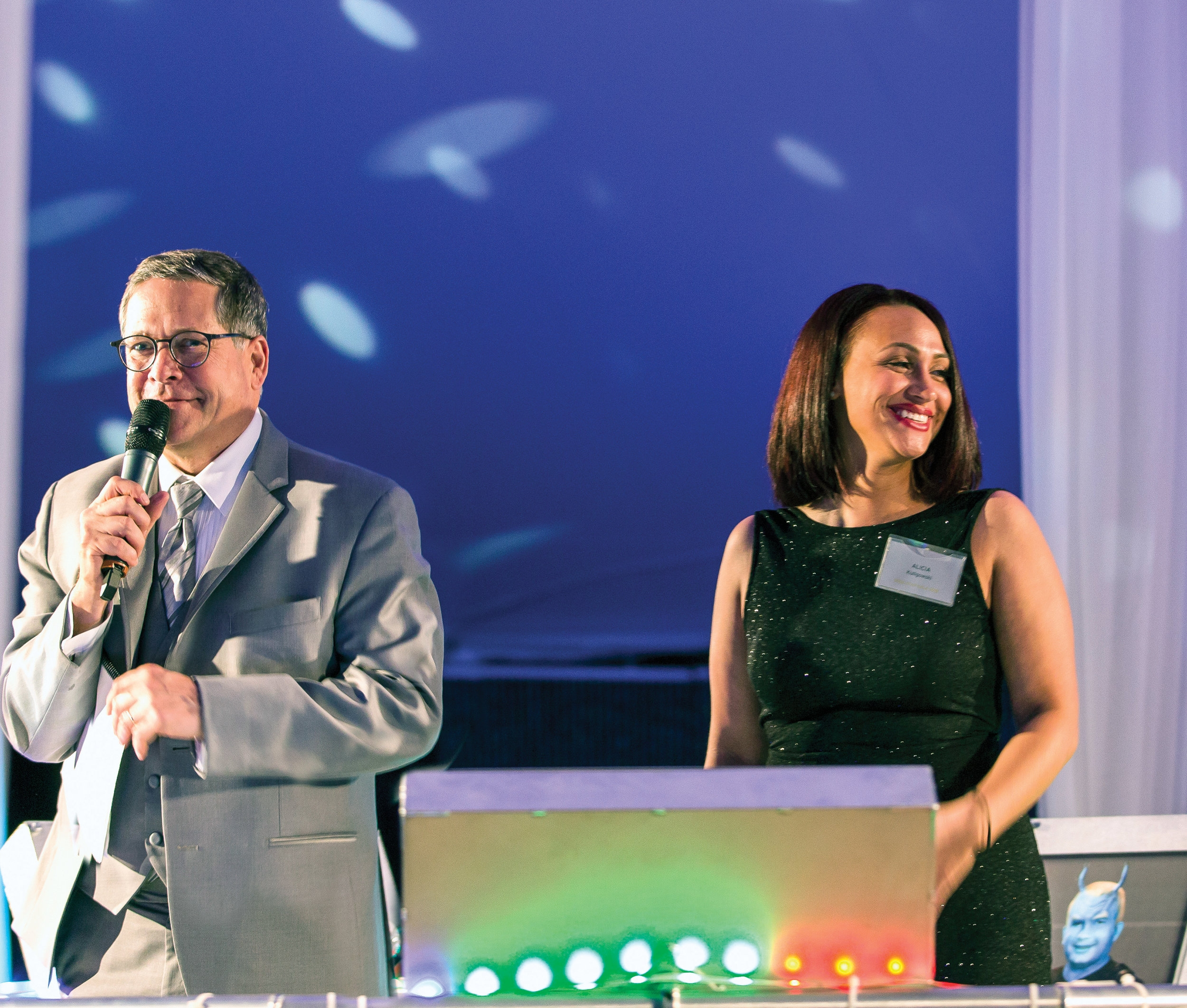 Celebrity auctioneer Doug Emblidge was joined by MCC Foundation scholarship recipient Alicia Kuligowski, Class of 2019, for an inspiring scholarship call.