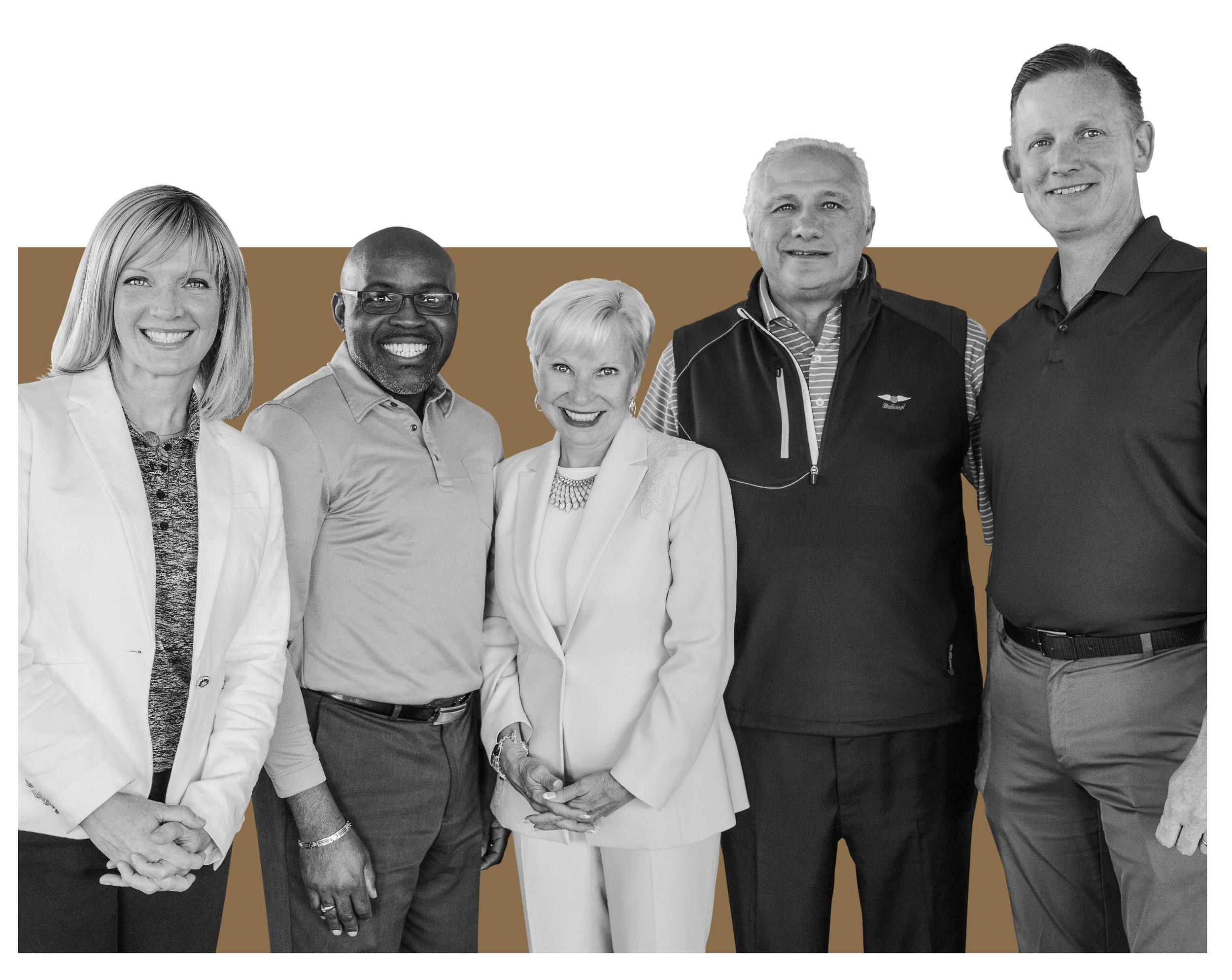 Pictured above: Gretchen Wood, Dr. Lloyd Holmes, Lauren Dixon, Rick Brienzi  ' 79 and Tom Gears.