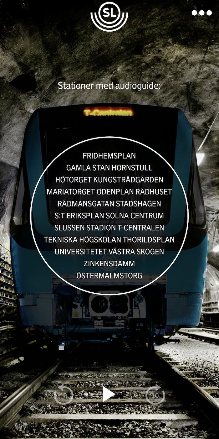 Namnen på alla 21 stationer där du kan lyssna till guidad audioguide.  Källa: SL ArtGuide(2019)