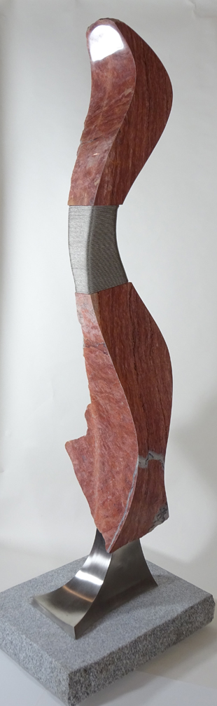 """Paso Doble I  Red Vermont Marble 82"""" x 24"""" x 26"""" 2014 $23,000 - RESERVED"""