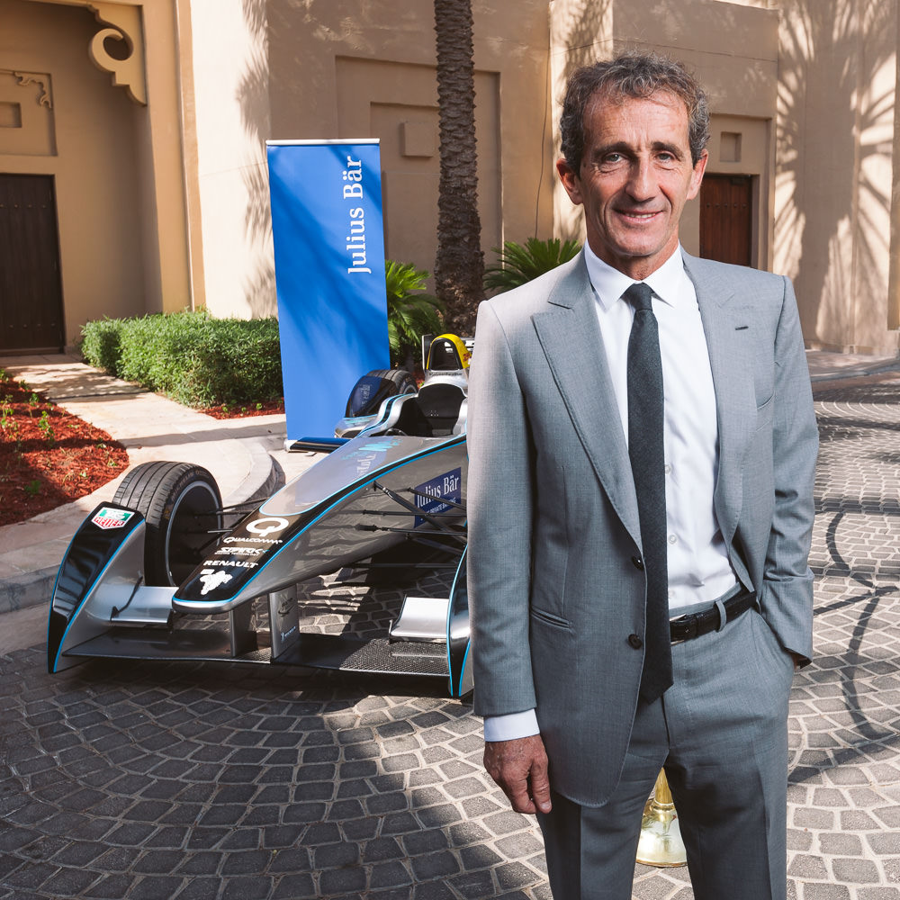 Alain Prost posing infront of a Formula-E car in Dubai during a corporate event. We only had about 2min to get the shot, including setup and moving back inside for more photos - the v860 with godox speedlight clamp and foldable softbox were golden and meant we didn't waste any time on equipment setup, cables, etc.