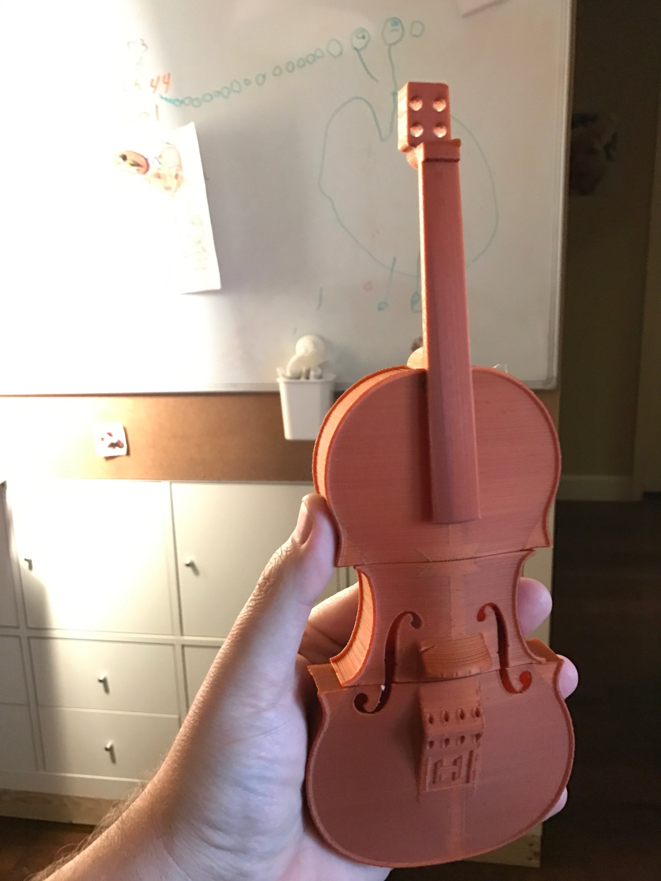 """And after 6-7 hours, the 50% scale model is done! Penelope said """"It's missing something"""" which would be the strings and tuners..."""