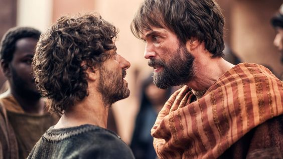 Peter faces Paul and wrestles with how to forgive this new Christian who was killing his friends just weeks prior.  (This picture taken from A.D. Kingdom and Empire series)