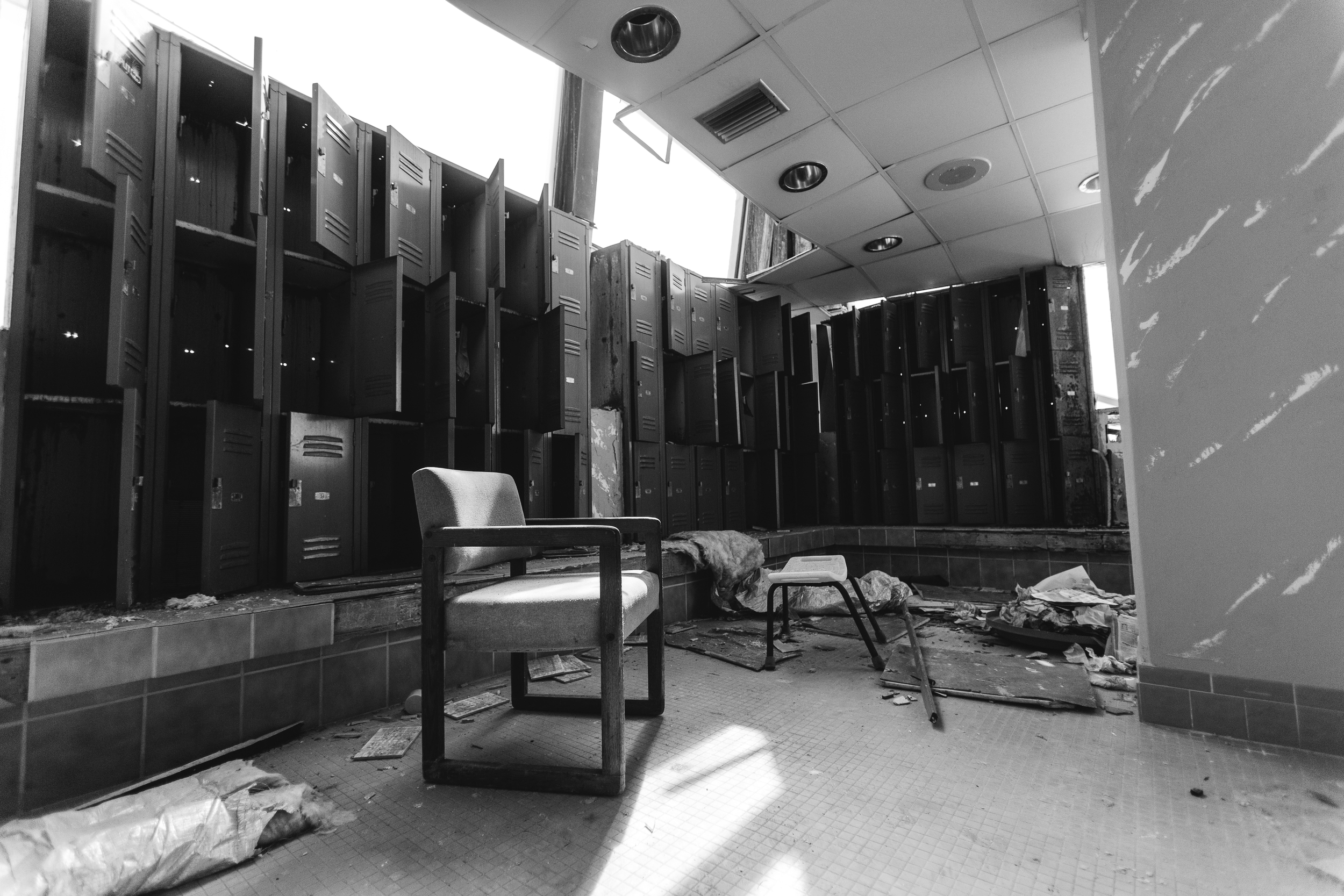 Glass Bank Lockers Black and White