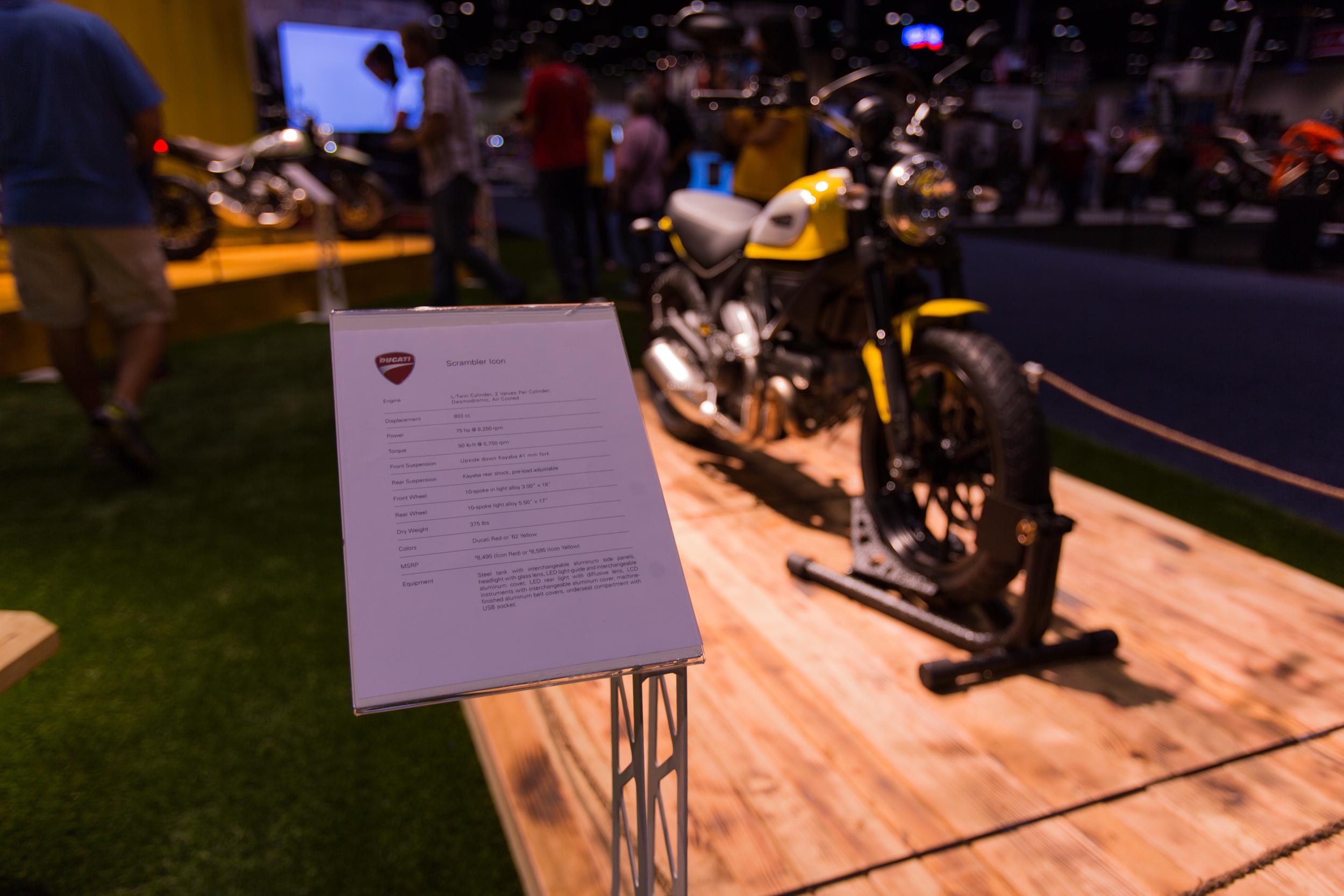 AIM Expo - Ducati Scrambler Stat Sheet