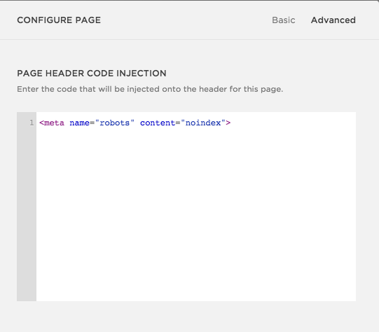 Click on the advanced section and paste the code like you see above. Don't forget to click save.