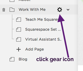 Step 1 - Click on the gear icon of the page, index or folder that is part of your menu navigation.