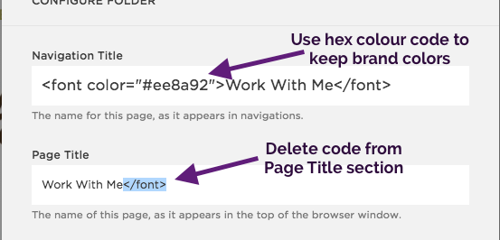 Step 3 - You can also use hex color codes to stick to your brand color. Delete the code from the Page Title section. When you add the code to the navigation title, it automatically loads up in the Page Title, so you have to manually delete it.