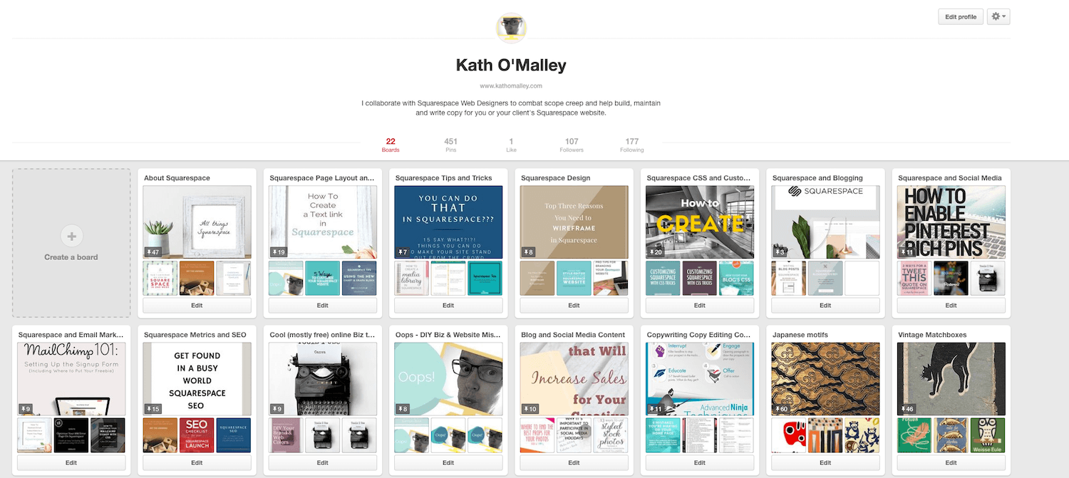 Click this handy image to follow one or all of my Squarespace Pinterest boards.