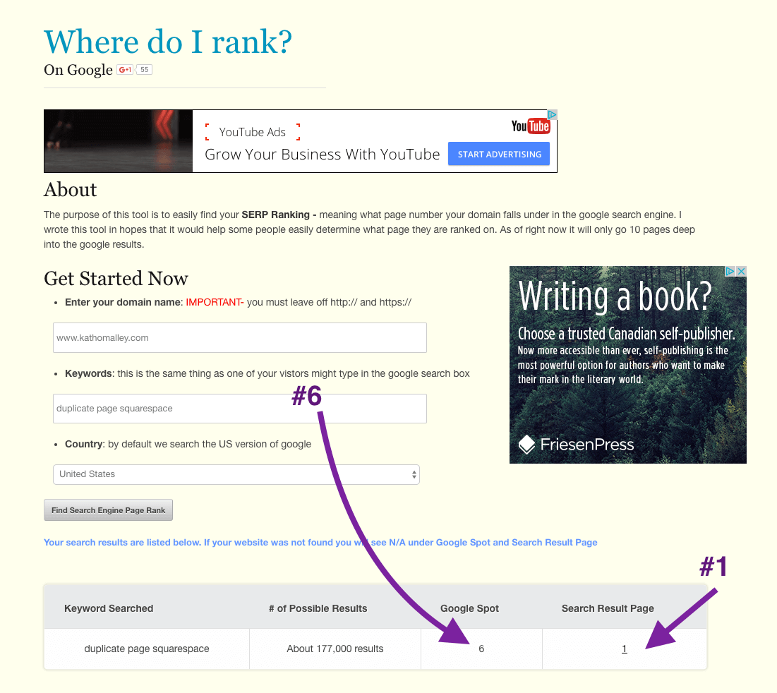 With Duplicate Squarespace Page my Squarespace Blog Post Ranks #6.