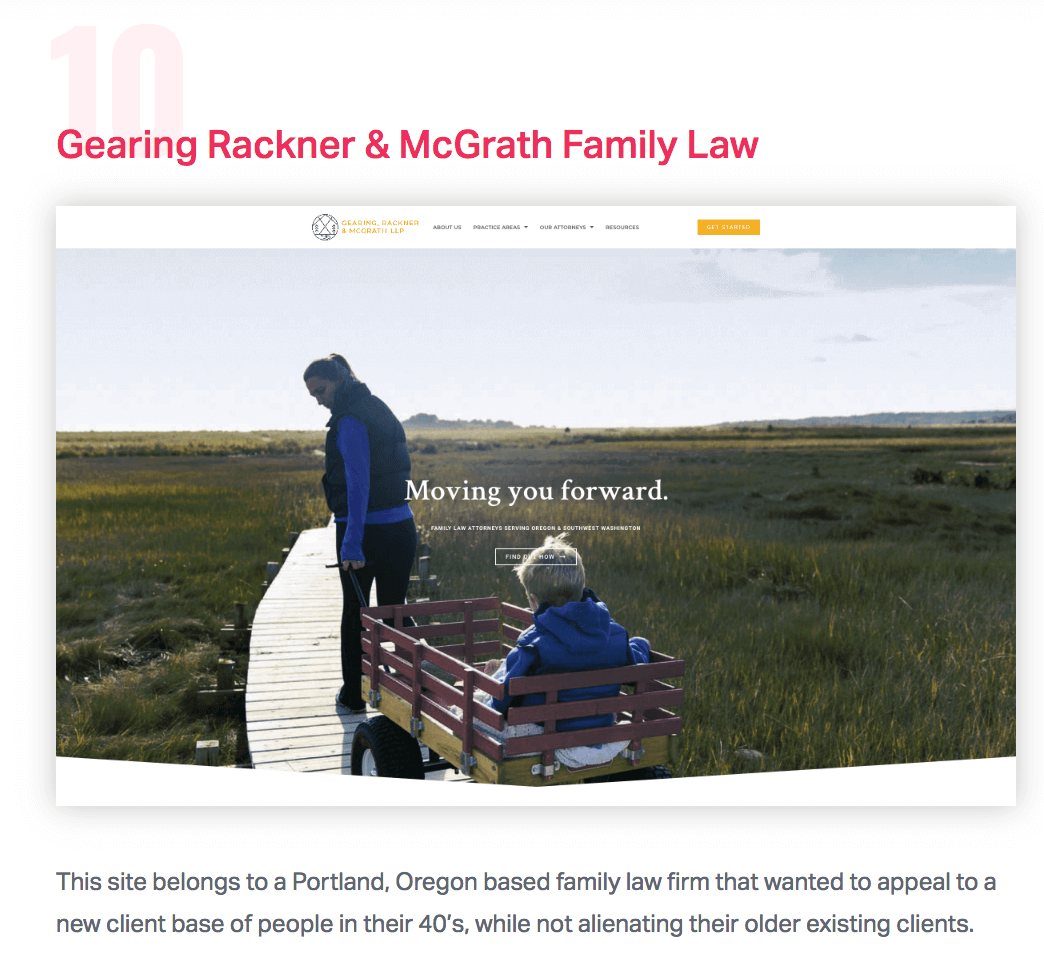"""Featured in Elementor's Blog - """"We loved how the design and the messaging perfectly correspond with the firm's expertise of divorce and separation.""""Read Elementor Showcase January 2019"""