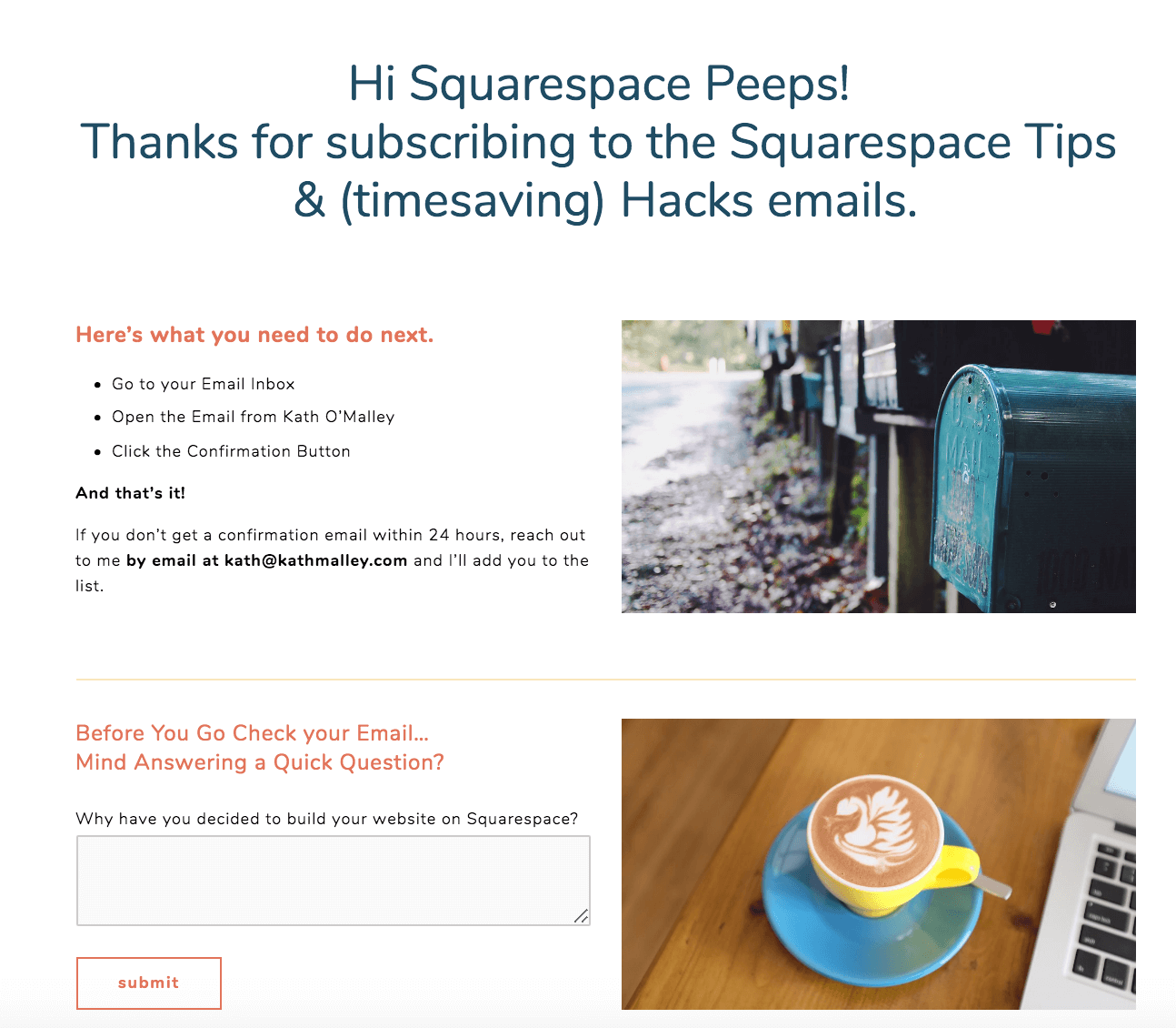 Squarespace Newsletter Thank you Page