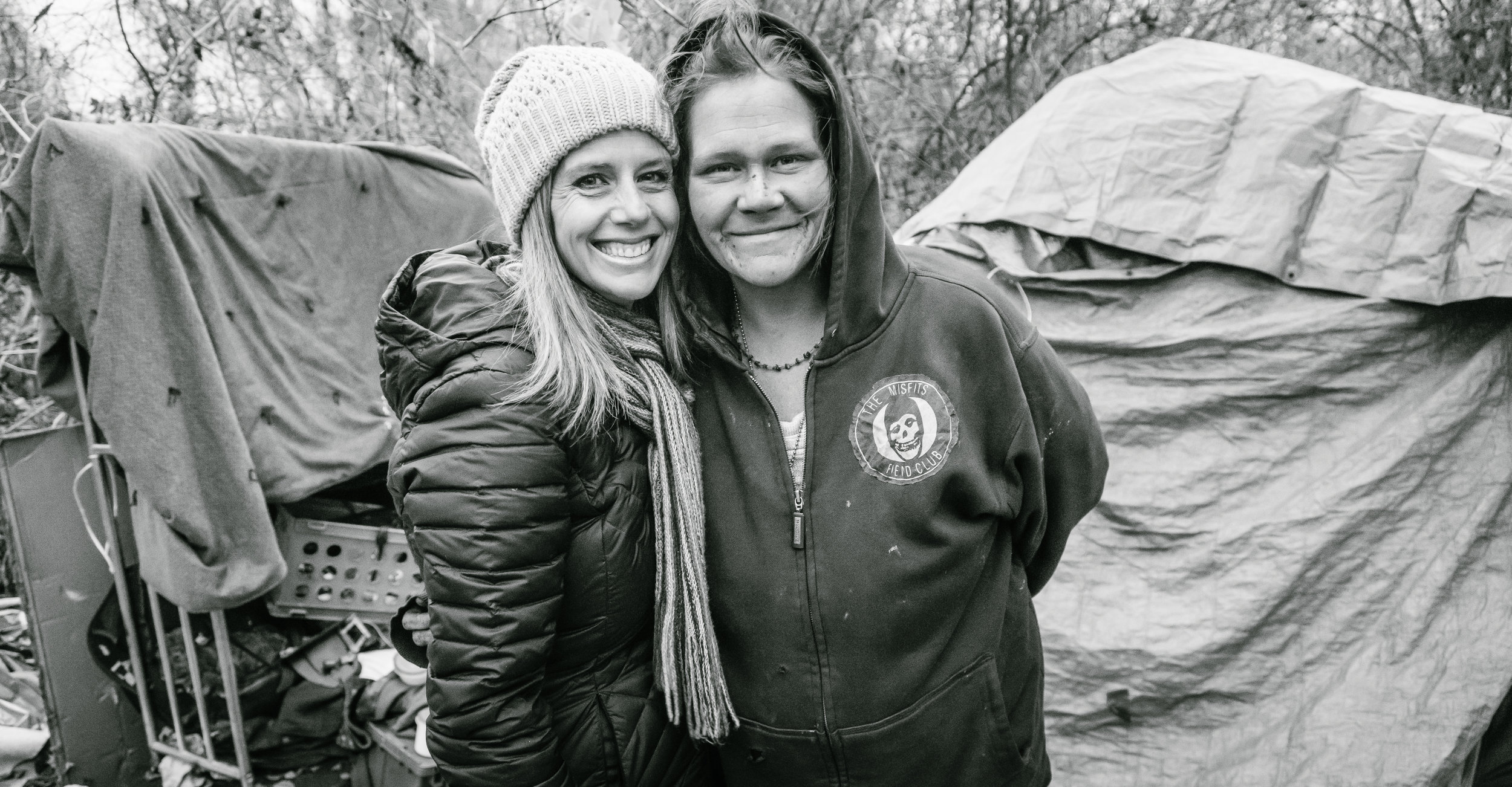 Dawn with Jakki at her homeless camp