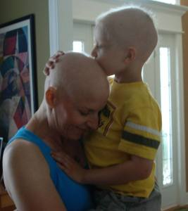 Deliece and her son Braden in 2011 - taken while they were both enduring cancer treatments