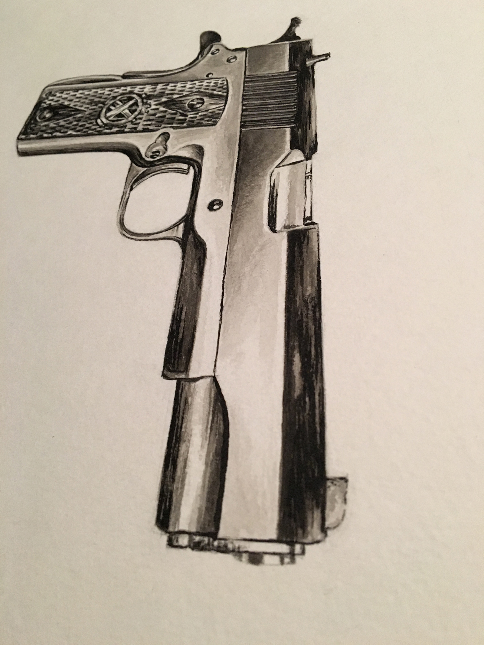 springfield 1911 ink wash painting by jordan fretz