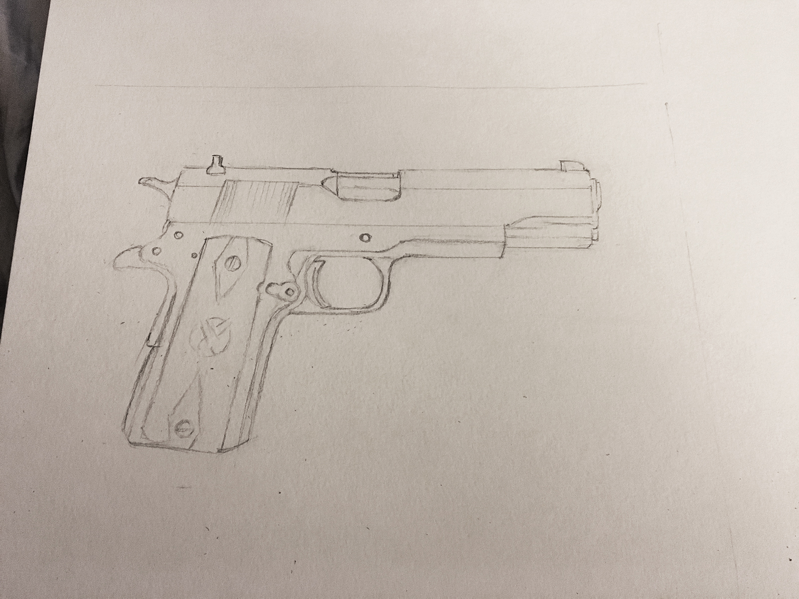 springfield 1911 drawing by jordan fretz
