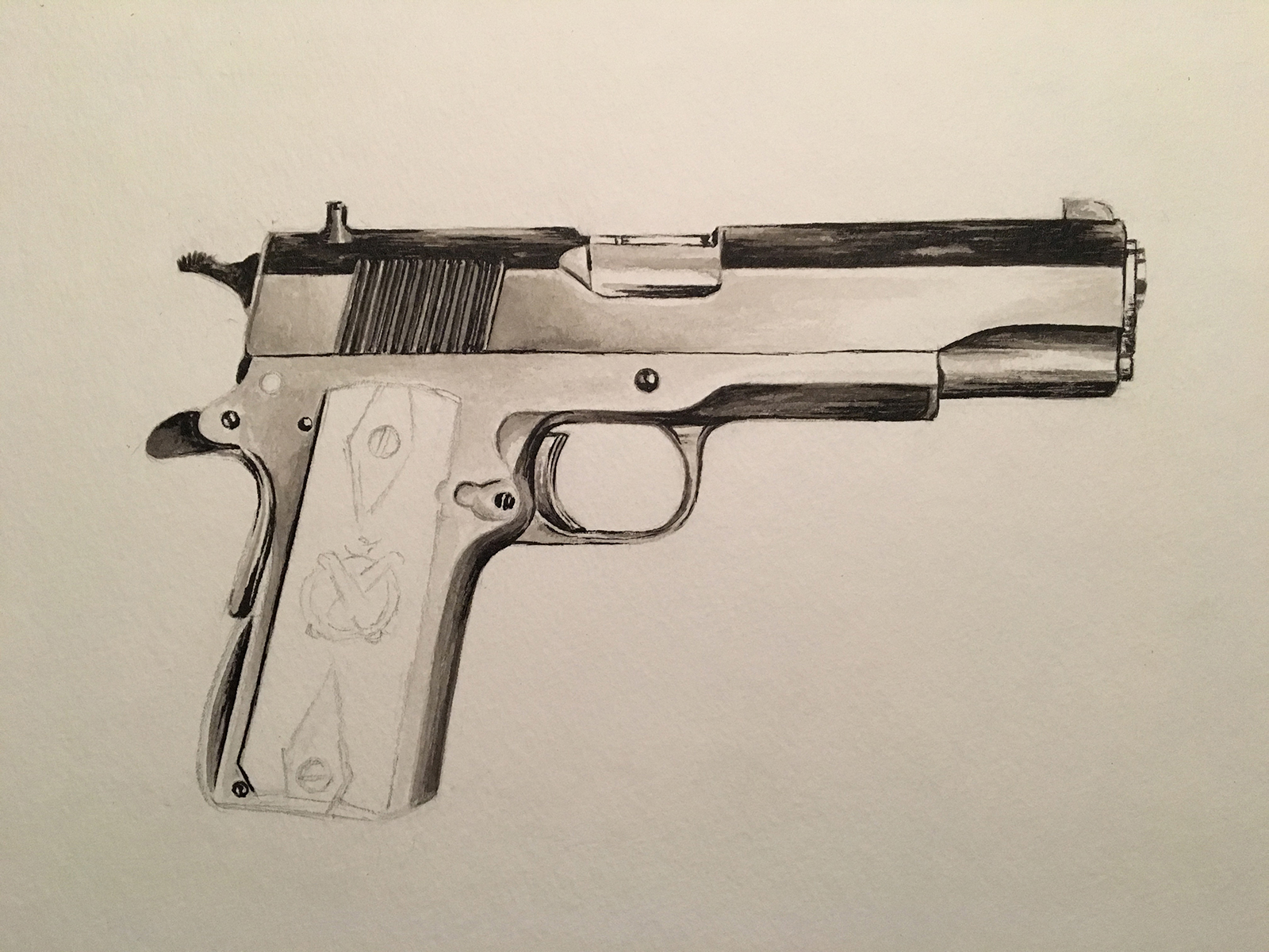 springfield 1911 ink wash painting process shot by jordan fretz