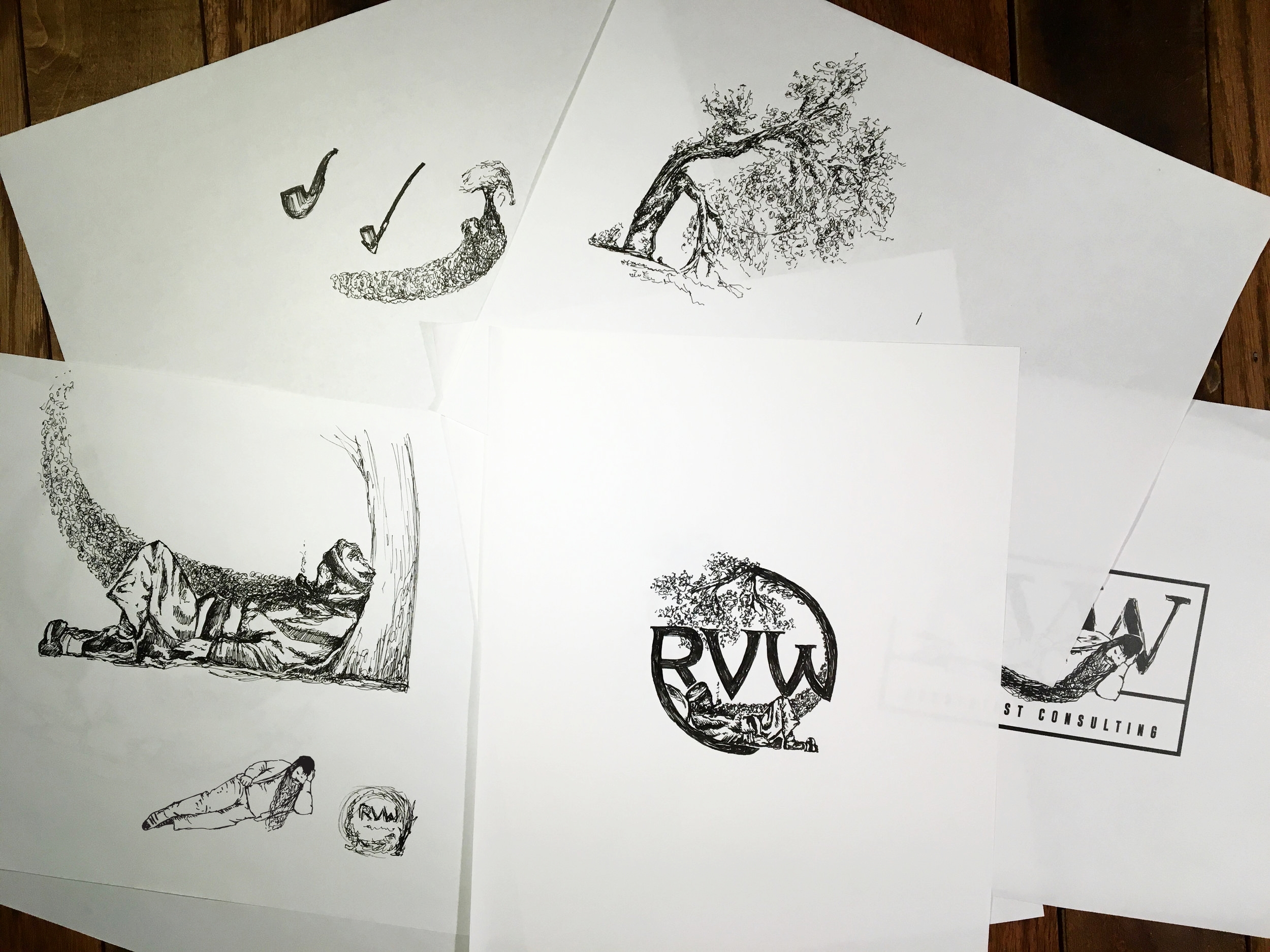 RVW illustrated logo design and identity by jordan fretz