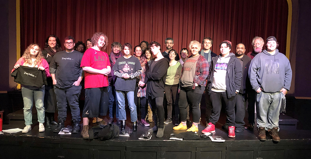 Graduating Class of PlayWrite's 2018 workshop with students at Mt Scott Learning Center, onstage at the Clinton St Theater.