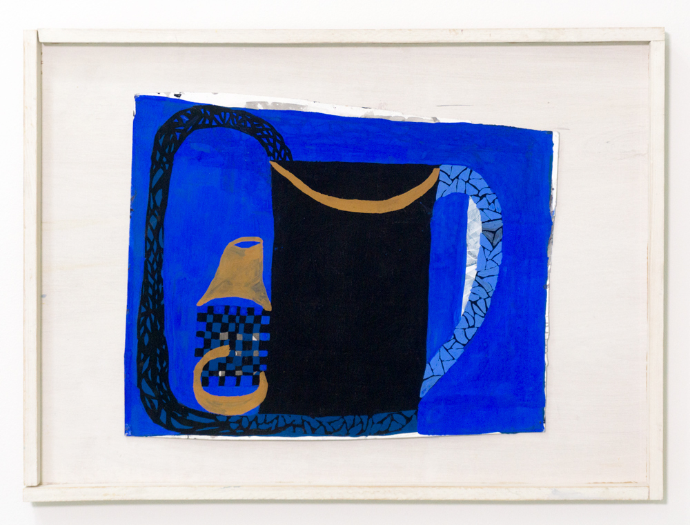 """Zoë Wright  Bottle and jug , 2016  Ink and gouache on paper 12"""" x 13.5""""(unframed) 16"""" x 22"""" (framed)"""