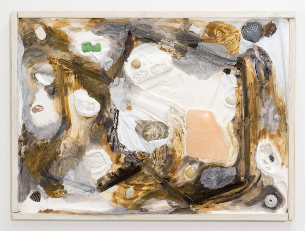 """Zoë Wright  Sandbox , 2017  Watercolor and gouache on plaster with found objects in wooden frame 16"""" x 22"""""""