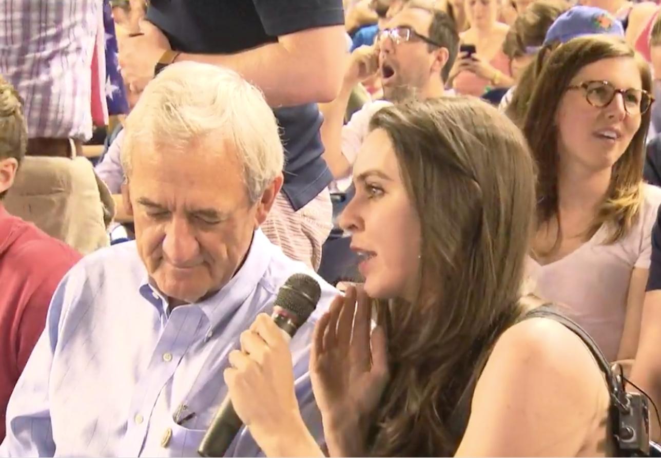 Interviewing Congressman Rick Nolan at the 2017 Congressional Baseball Game.
