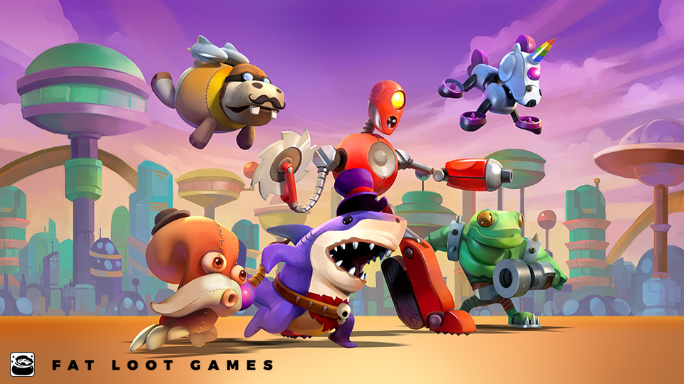 Fat Loot Games created assets for Toy Rush including the title screen (which was also used in in the PAX East booth display,) opponent character portraits for the single player campaigns, and promotional materials such as a 14-page coloring book.