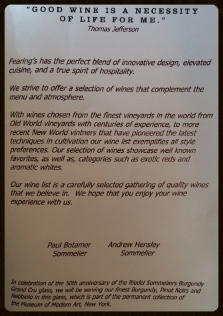 The opening page of the wine list at Fearing's