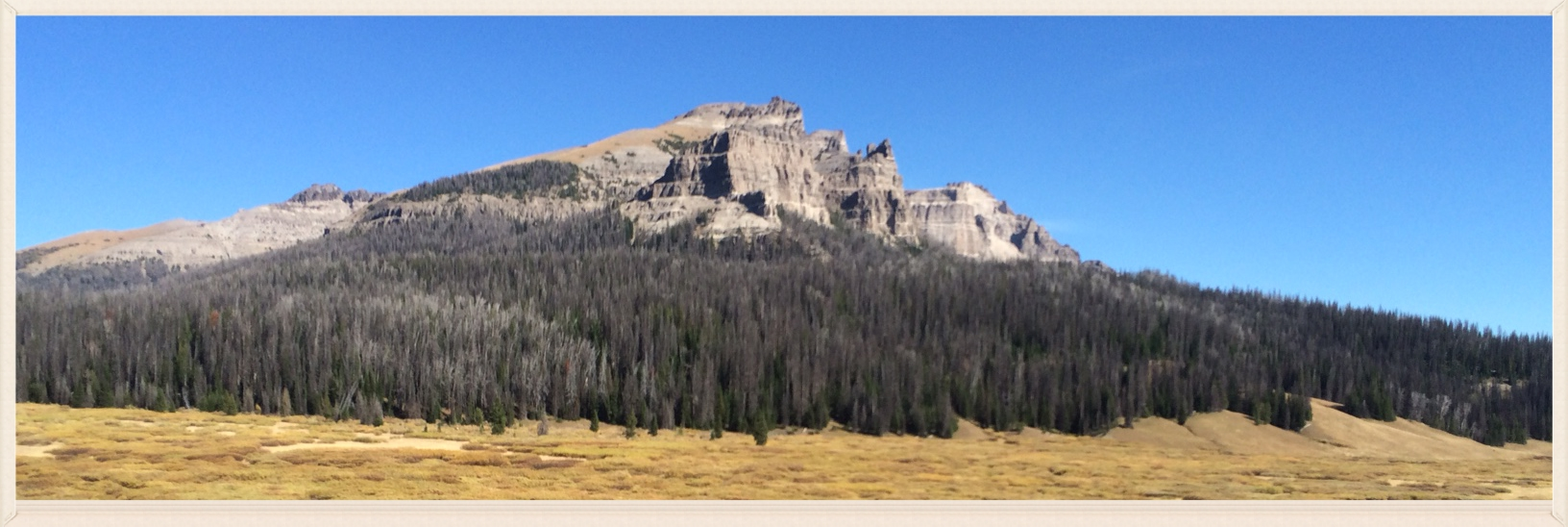 Pinnacle Buttes view from Brooks Lake Lodge