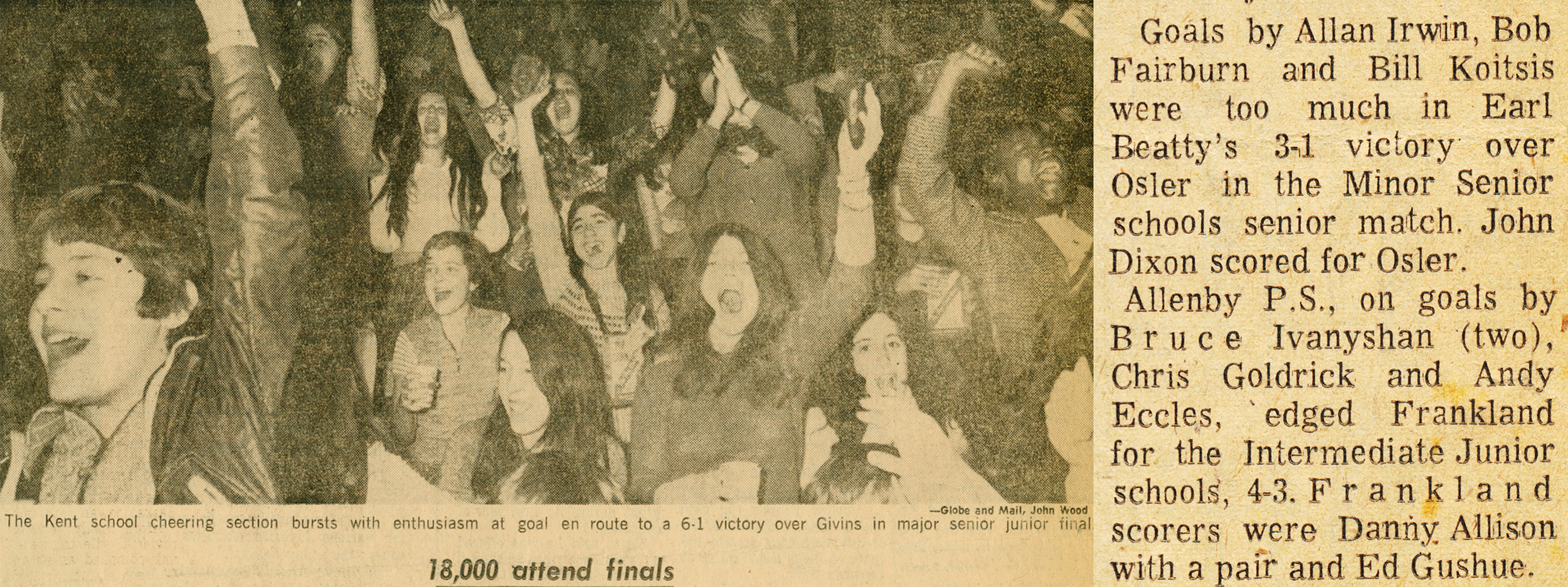Newspaper clipping from the Globe and Mail after winning the school Championship the following year.
