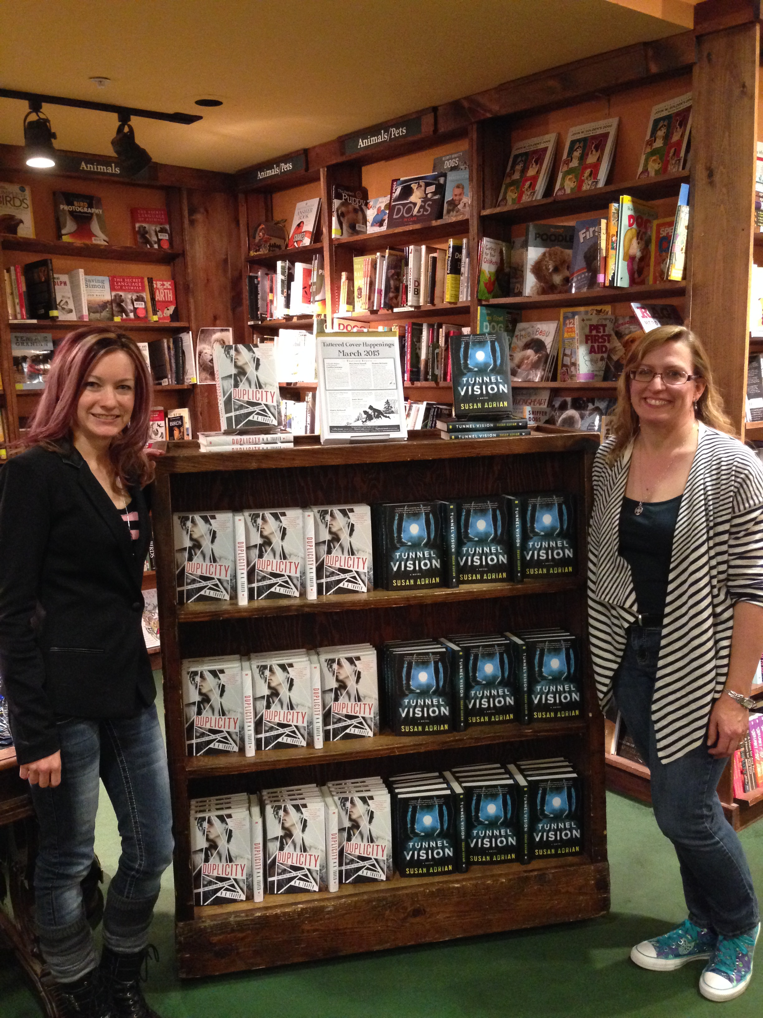n.k. traver and me with our amazing book display at tattered cover in denver!