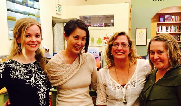 s.j. kincaid, stacey lee, me, and whitney miller at mrs. dalloway's in berkeley!