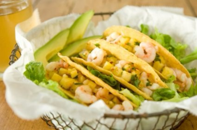 Shrimp Tacos     The perfect balance of savory and citrus, this recipe can be prepared a day ahead and assembled right before serving. Pair with our fajita seasoning for the ultimate summer dish or present with a variety of toppings for large-crowd entertaining!