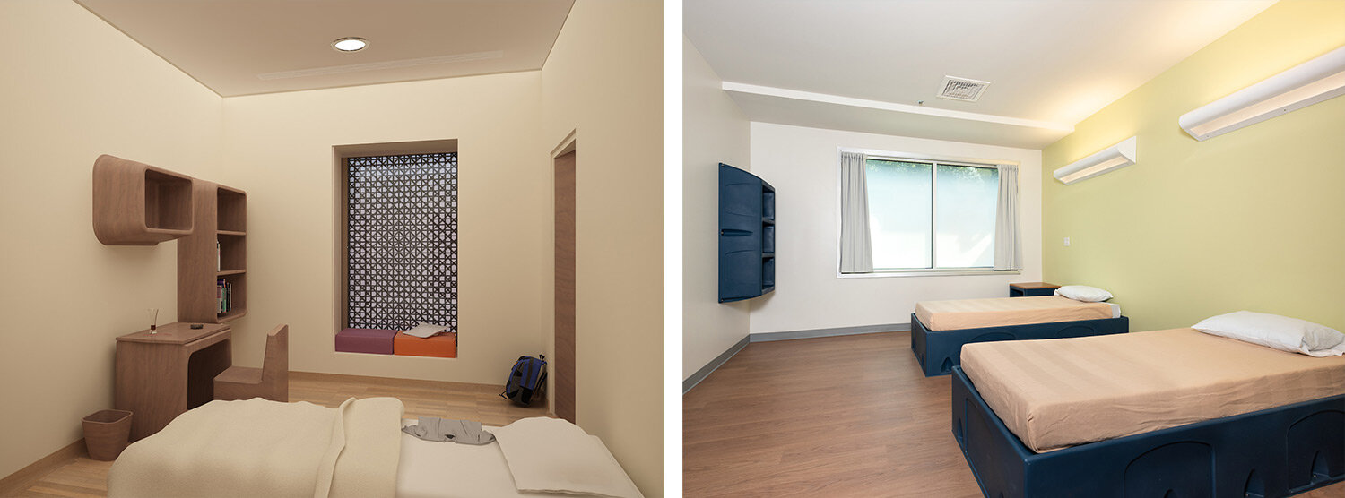 Private rooms at Al Amal Psychiatric Hospital (left), shared room at Mark Reed E&T (right)