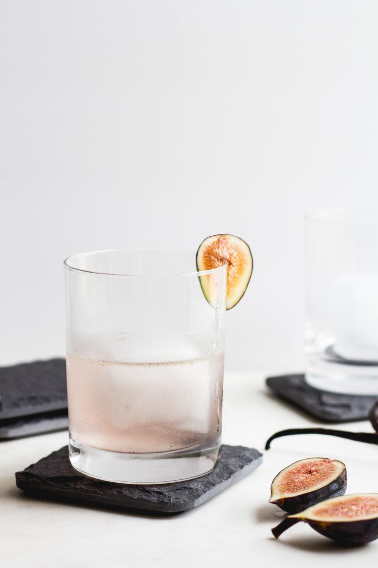 Fig, Vanilla-Bean + Gin Cocktail -