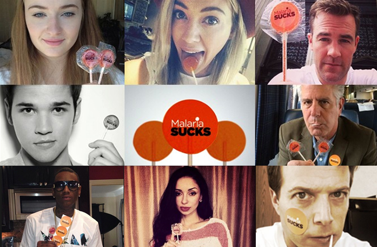 #MalariaSucks.  We created a social media movement by engaging influencers and celebrities to change their avatars on social media to feature the #MalariaSucks orange lollipop. Celebs such as Mya, Sophie Turner, Nathan Kress, Soulja Boy, Hilary Duff, Scott Wolf, Anthony Bourdain, James Van Der Beek helped build awareness and momentum..