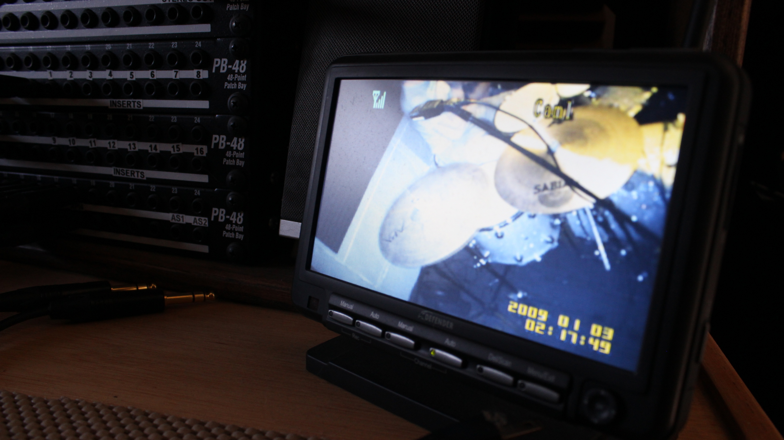 Drum room on monitor