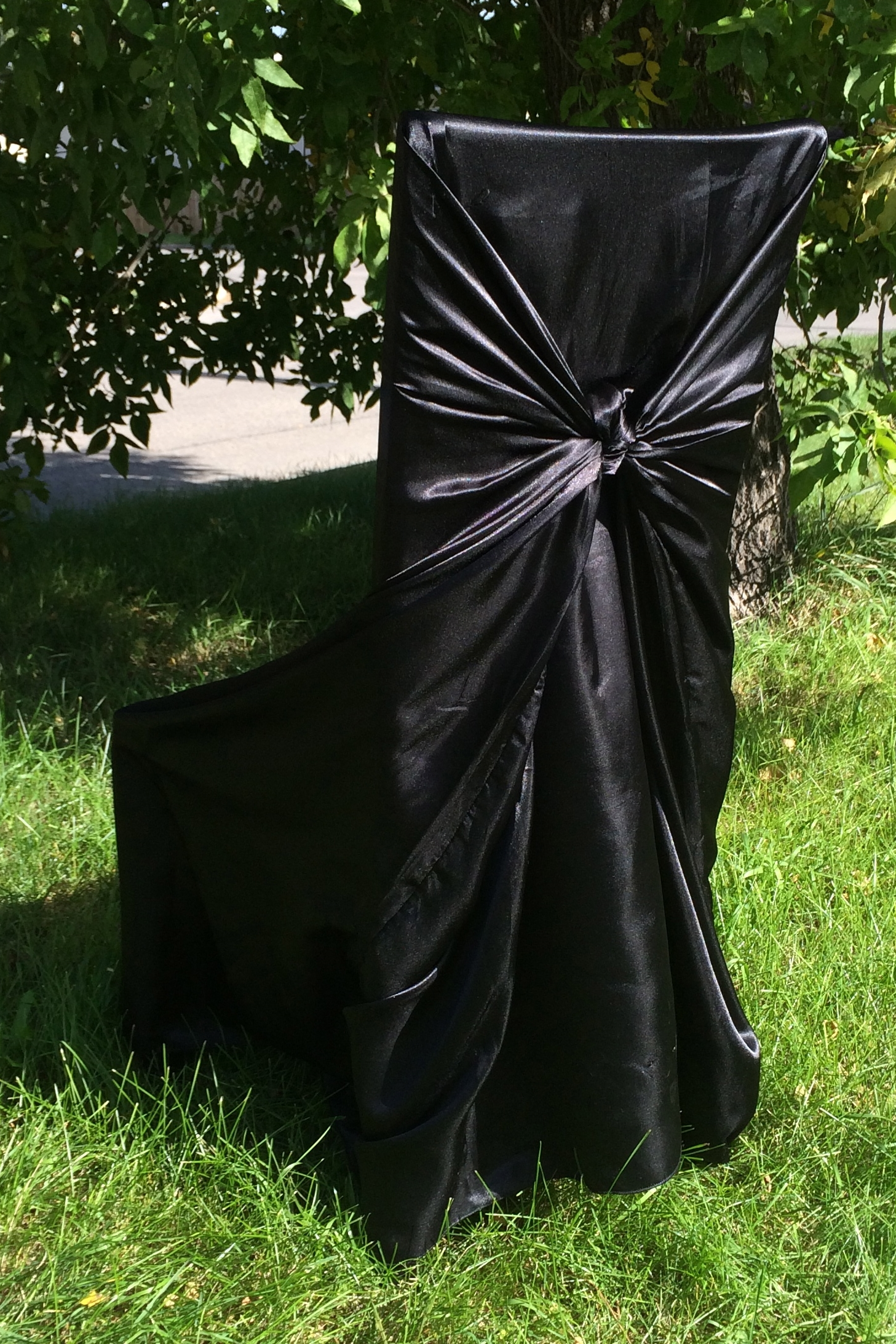 BLACK SATIN TIE BACK CHAIR COVER