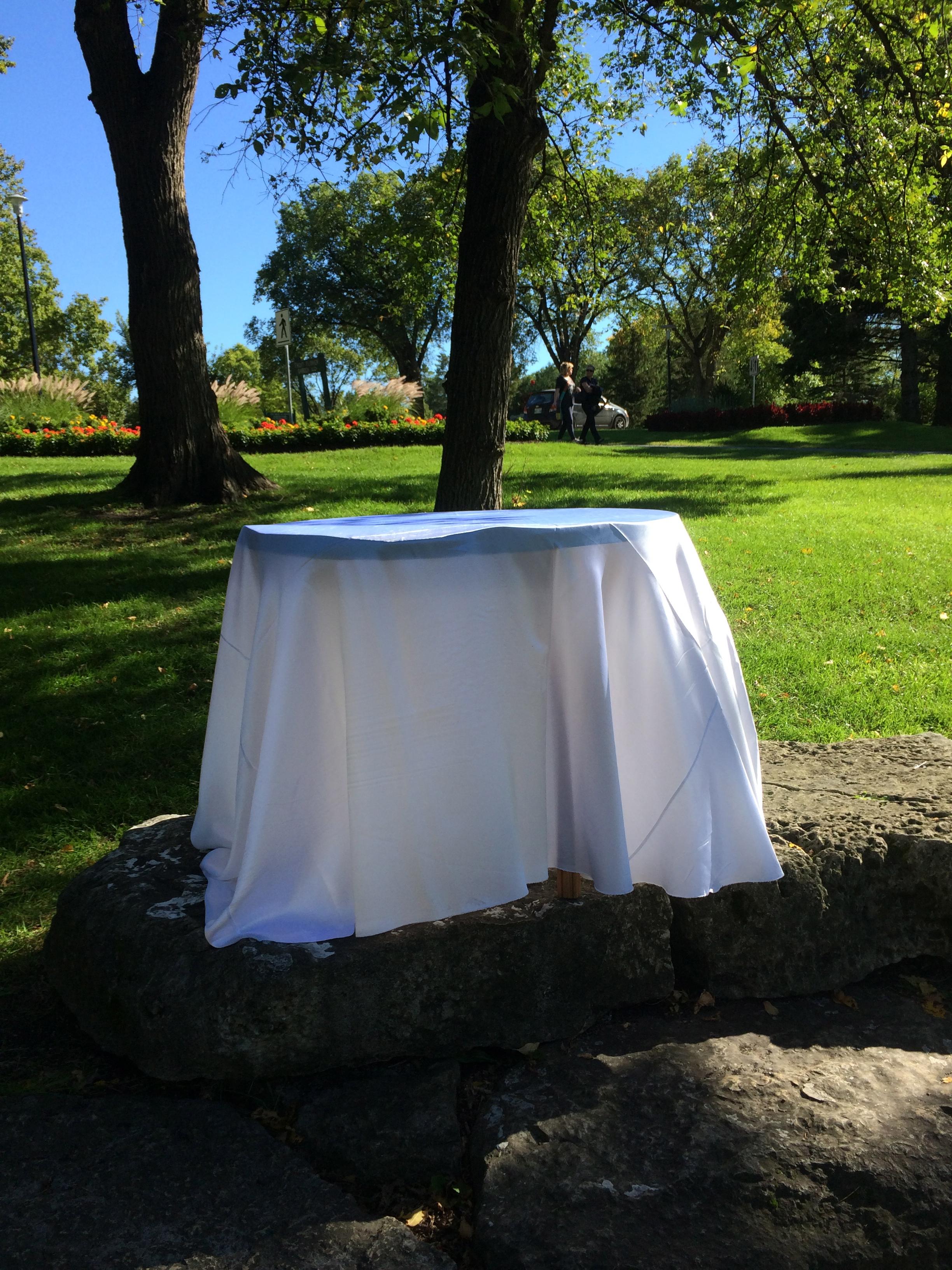 WHITE SATIN TABLE CLOTH