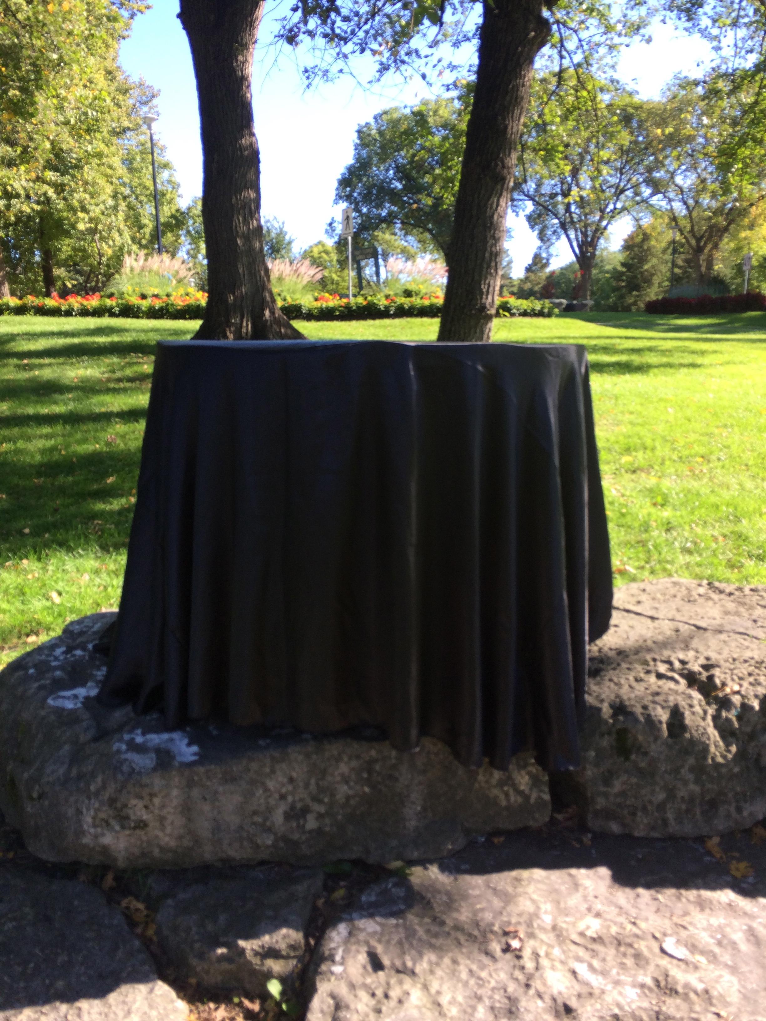 BLACK SATIN TABLE CLOTH