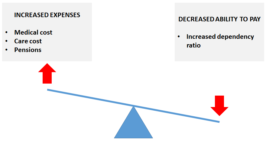 Figure 1 : The economic cost of aging is caused by an increase in expenses due to a longer period of life spent in the 'old age' stage and a decreased ability to pay for the elderly due to an increase in the dependency ratio. Image credit: Sven Bulterijs
