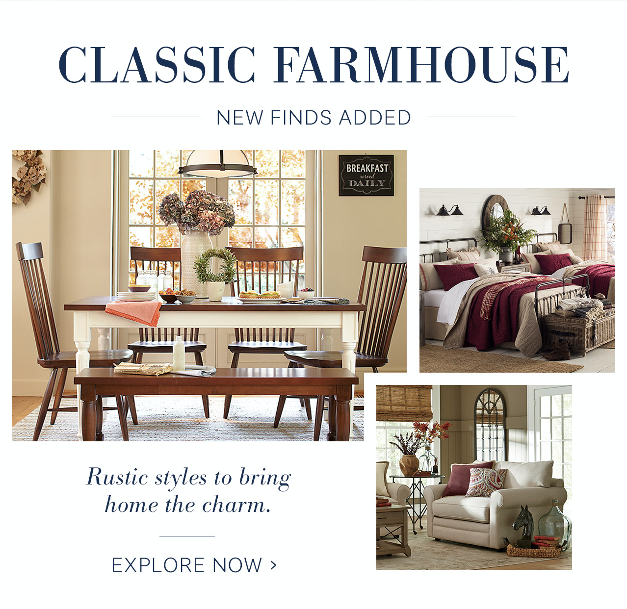 SL:  NEW farmhouse 🌾 Shop a fresh crop of finds  TL:  Bring them home, sweet home.